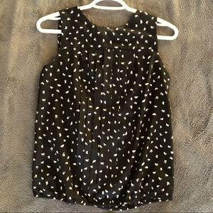 Loft black & white sleeveless blouse